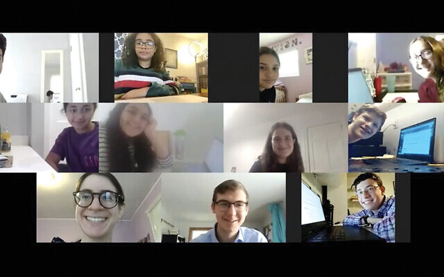 This screenshot shows the national champions taking the quiz on 196 chapters of Tanach online. Top row from left: Beni Romm, Eliana Levenzon, Eliana Waghalter, and Talia Weinstein. Middle row: Yaelle Shaye, Tamar Dahan, Adielle Rosenblum, and Samuel Colchamiro. Bottom row: Elana Rosenblatt, English Consultant for USA Chidon Avi Shaveron, and Eli Novick.
