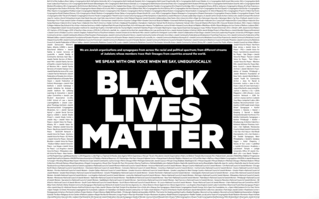 A New York Times ad published on Aug. 28 and signed by over 600 Jewish groups and synagogues expresses solidarity with Black Lives Matter. (Screen shot)