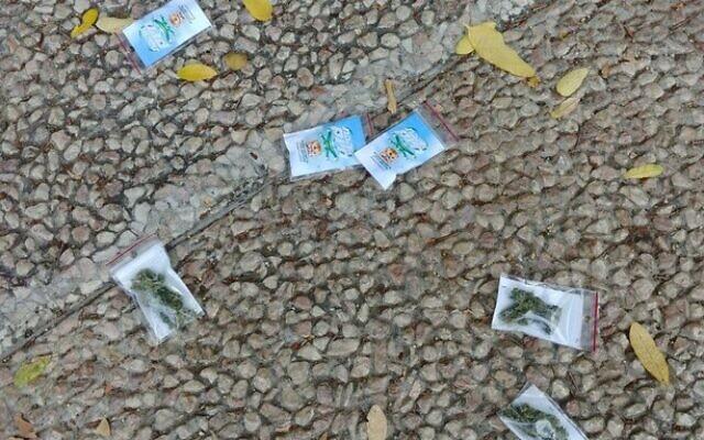 Bags of marijuana litter the street in Tel Aviv. (Israel Police)
