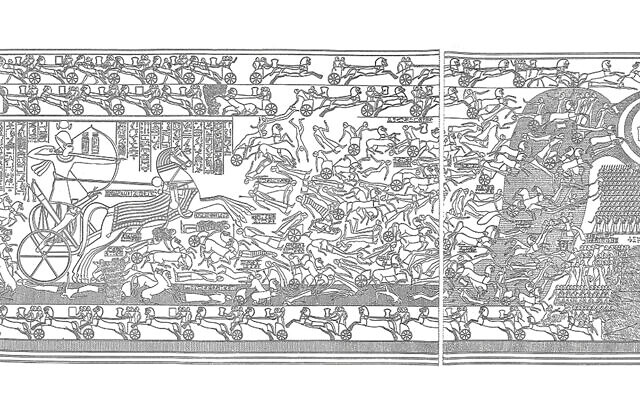 Ramesses II single-handedly defeating the Hittites at the Battle of Kadesh in 1274 B.C.E. The Hittites seek refuge from his arrows by jumping into the Orontes river, but to no avail, and their corpses float away. Rabbi Dr. Joshua Berman argues that Ramesses offers lessons in understanding the Torah.