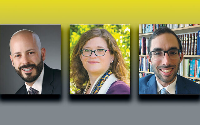 Rabbi David Z. Vaisberg (JanPress PhotoMedia) left, Cantor Jessica F. Epstein, and Max Edwards