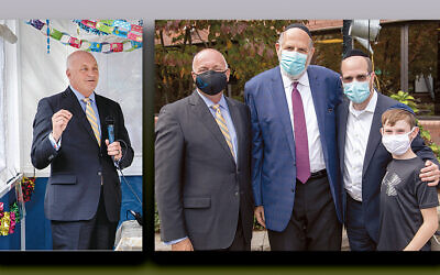 Left, Michael Maron, the CEO of Holy Name Medical Center in Teaneck, welcomes Jewish communal leaders to its Sukkot celebration in the hospital's sukkah. Above, Michael Maron, left, stands with the Sinai Schools' chairman, Rabbi Mark Karasick and Sinai's dean, Rabbi Dr. Yisrael Rothwachs, and his son, Dovid, in the hospital's sukkah.