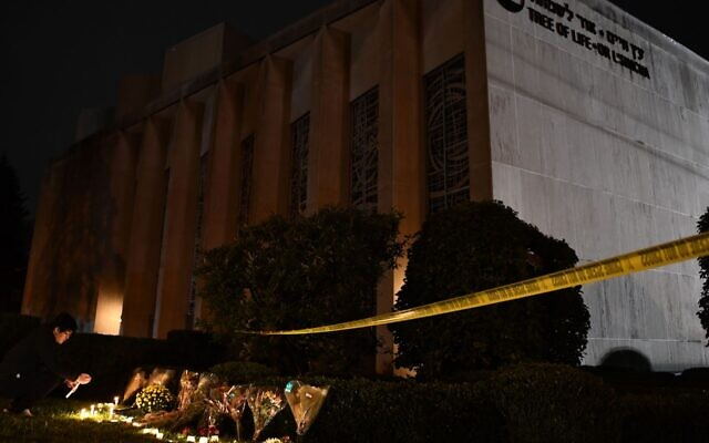 The 2018 anti-Semitic attack on the Tree of Life*Or L'Simcha synagogue, pictured above, has become an inspiration to white supremacist groups. (Brendan Smialowski/AFP/Getty Images)