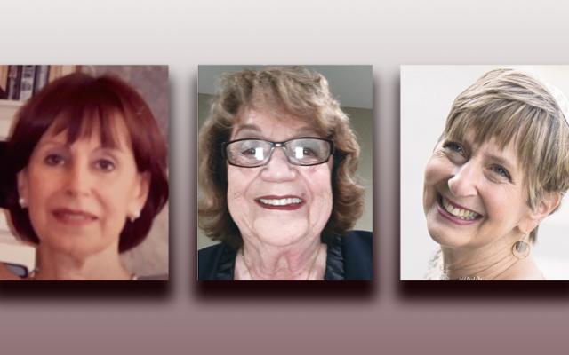 Harriet Turner, left, Lydia Katz, and Rabbi Paula Mack Drill