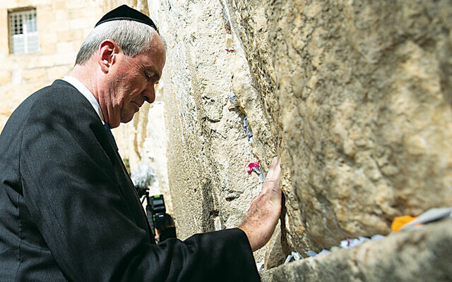 New Jersey's Governor Phillip Murphy at the Kotel during a pre-pandemic trip to Israel.