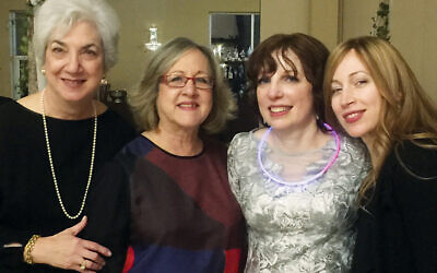 At a wedding in 2017, four of the carpool buddies stand together; from left, they're Tzivia Bieler, Linda Levi, Amy Lazar, and Rachel Stadtmauer.