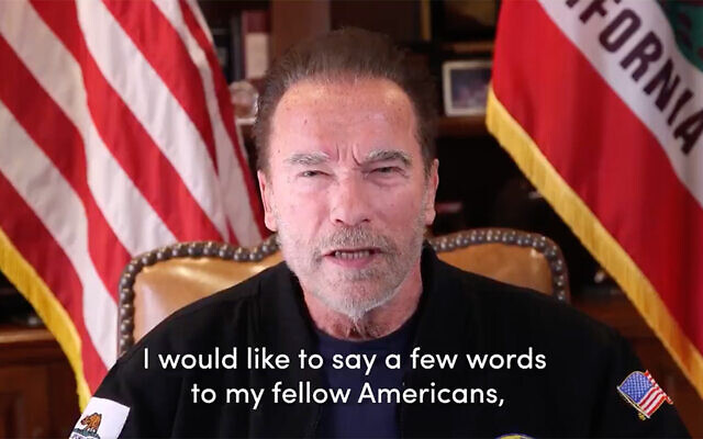 Screen shot of a video Arnold Schwarzenegger posted to social media on January 10, 2021. (Screen shot from Twitter)