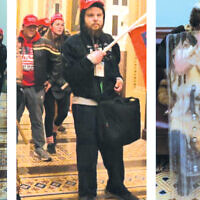 Aaron Mostofsky, far right, was one of the rioters who entered the Capitol.  (Screenshot from D.C. Police)