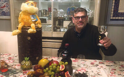 Cantor Alan Sokoloff participates in the Tu B'Shevat seder on Zoom. (Courtesy TEPV)