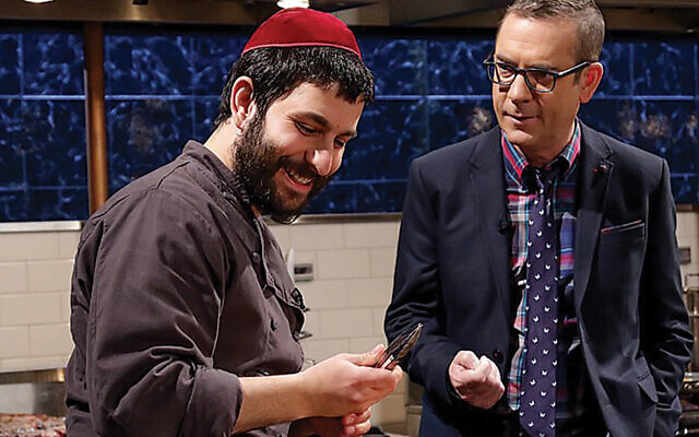 "Rabbi Hanoch Hecht with Ted Allen  on ""Chopped"" (Courtesy Chabad)"