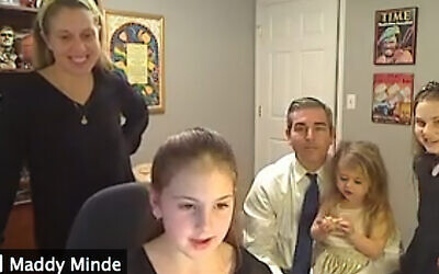 The Minde family on the Zoom service. (Courtesy TBA)