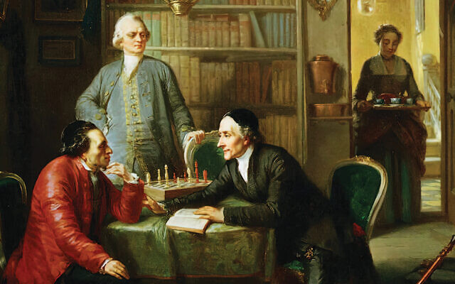 "A 19th-century painting by Moritz Daniel Oppenheim shows a meeting, set a about a century earlier, at the Berlin home of Moses Mendelssohn; the three men are Mendelsson, Johan Kasper Lavater, and Gotthold Ephraim Lessing, the playwright who wrote ""Nathan the Wise."" (Courtesy Academic Studies Press)"