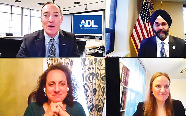 The speakers on the Zoom call included, clockwise from top left, the ADL's Scott Richman, N.J. Attorney General Gurbir Grewal, Rabbi Jennifer Schlosberg, and  Nicole Crifo of Glen Rock CRAN.