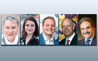 Cantor Jack Mendelson, left, Cantor Mira Davis, Josh Sauer, Rabbi Eric L. Wasser, and Cantor Paul Zim