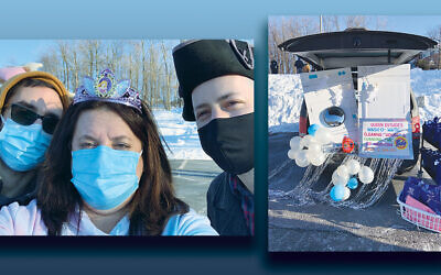 TBA clergy, in costume, from left: Rabbi David Z. Vaisberg, Melissa Weiner, the synagogue's director of Jewish learning; and rabbinical assistant Max Edwards. Right, A decorated car. (Photos courtesy TBA)