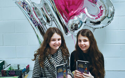 Miriam, left, and Shayna on the day of their Zoom bnot mitzvah celebration in school.