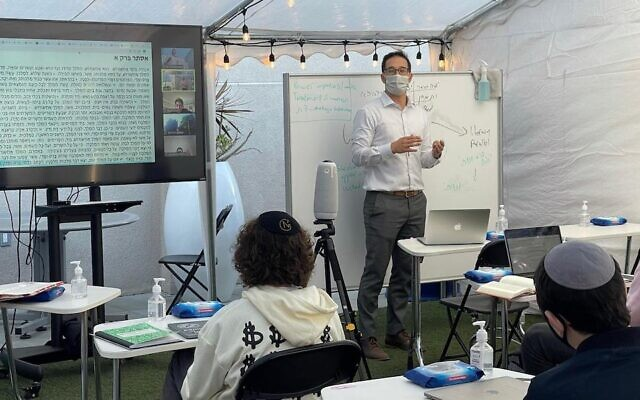 Shalhevet High School in Los Angeles invested in remote learning technology during the pandemic. In the fall, students located in Arizona will begin to attend Shalhevet classes via video. (Tushar Dwivedi)