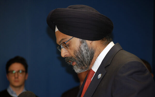 "New Jersey Attorney General Gurbir Grewal, shown in December 2019, said ""we will not allow some vocal residents' intolerance to drive local government decisions."" (Laura E. Adkins / JTA)"