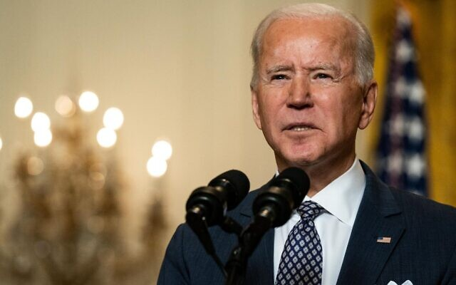 President Joe Biden, speaking from the White House at a virtual event hosted by the Munich Security Conference, said the U.S. and its allies must address Iran's destabilizing influence, Feb. 19, 2021. (Anna Moneymaker-Pool/Getty Images)