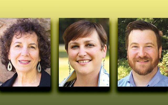Rebecca Bernstein McVeigh, left, Rabbi Ilana Schwartzman, and Cantor Josh Finkel