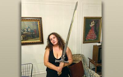 Talia Lavin, sword in hand
