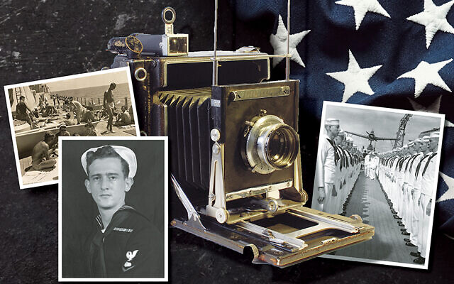 ON THE COVER: Herman Schnipper took these black-and-white shots, including the self-portrait, when he was a sailor on the USS Astoria. He used a Speed Graphic camera like the one here.