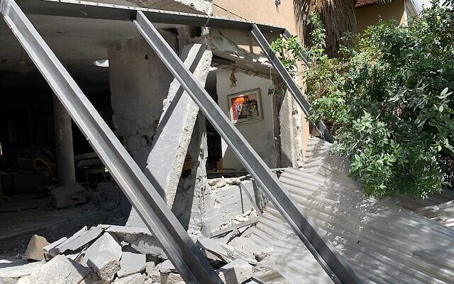 A house in Ashkelon hit by one of the more than 500 rockets fired at that city by Hamas.