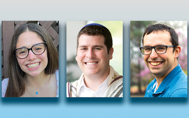 Talia Feldman, left, Rabbi Jesse Olitzky, and Rabbi Ethan Linden