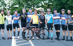 These ambitious bikers are just about to leave on a 50-mile ride to support the Jewish Family and Children's Services of Northern New Jersey.