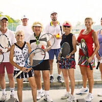 The large group of tennis participants