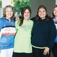 From left, JFCS CEO, Susan Greenbaum; its CDO, Michele Wellikoff, Suad Gacham, and ride committee chair Shira Feuerstein