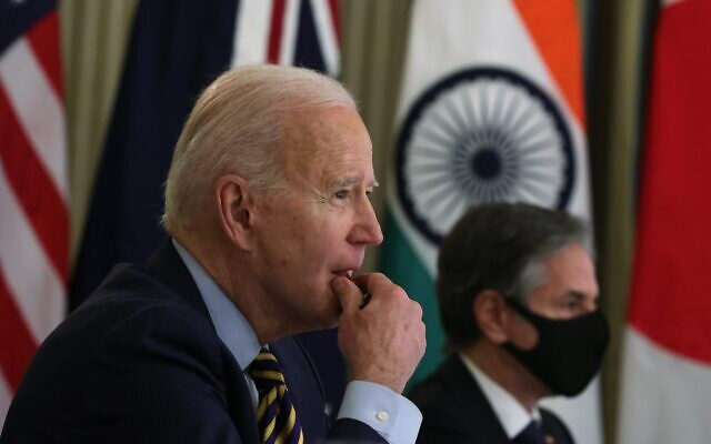President Joe Biden and Secretary of State Anthony Blinken participate in a virtual meeting with leaders of Quadrilateral Security Dialogue countries in the White House, March 12, 2021. (Alex Wong/Getty Images)