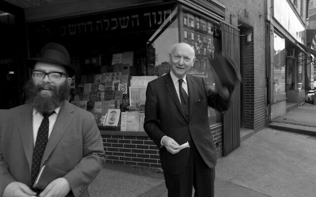 Author Isaac Bashevis Singer poses for a portrait outside the S. Rabinowitz Hebrew Book Store on New York's Lower East Side in 1968. (David Attie/Getty Images)