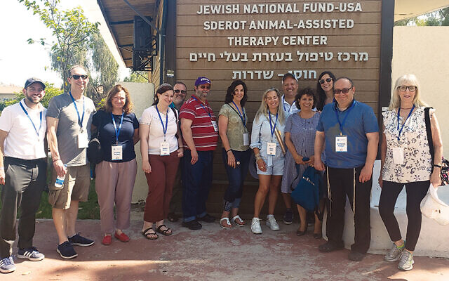 The Jewish Federation of Northern New Jersey mission tours the Jewish National Fund-USA Sderot Animal-Assisted Therapy Center run by the Israel Trauma Coalition. (Noga Lustigman/Giant Leap Content Activities)