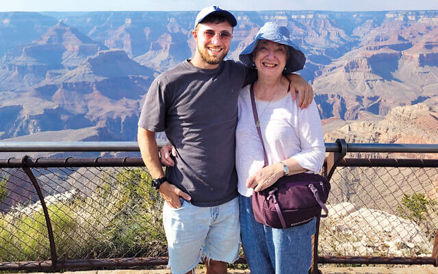 Ms. Bieler and her grandson Gershon Kwalbrun stand happily together at the Grand Canyon this summer.