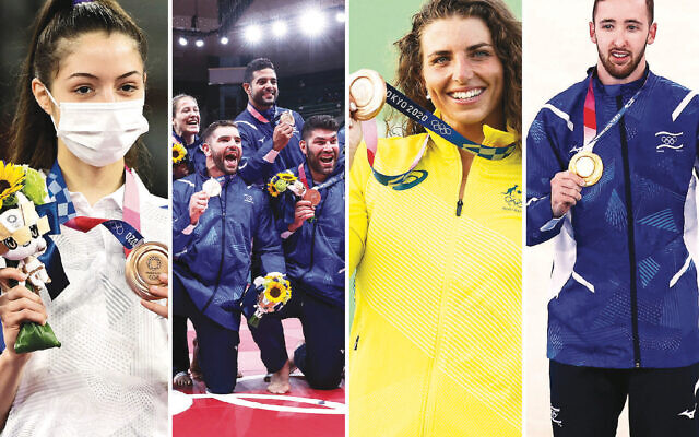 Among the Jewish athletes to win medals in Tokyo are, left to right, Avishag Semberg, Team Israel Judo, Jessica Fox, and Artem Dolgopyat. (Getty Images)