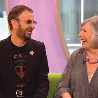 Sheila Bromberg shares a laugh with Ringo Starr on a BBC talk show in May 2011.
