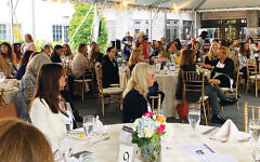 """The full """"room"""" at the Noa Tishby breakfast under the tent at Temple Emanu-El of Closter."""
