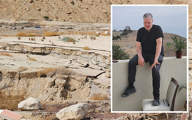 Photographer Spencer Tunick, inset, held a third major photoshoot on the Dead Sea last week; here, we see one of the many vast sinkholes that have opened in the last few years as the sea continues to shrink.