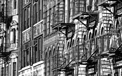 Sid Kaplan's photo of Lower East Side tenement buildings amid a pattern of fire escapes. Courtesy