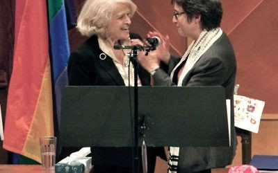 Rabbi Sharon Kleinbaum, right, welcomed congregant Edith Windsor at Beit Simchat Torah, following the Supreme Court's DOMA ruling
