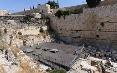 "The new platform built for ""non-Orthodox"" services at the Kotel. Photo courtesy Ministry for Jerusalem and Diaspora Affairs"