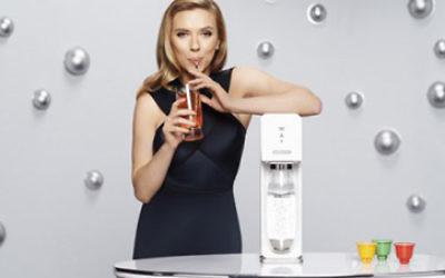 Scarlett Johansson as SodaStream brand ambassador.