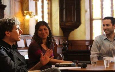 Tova Mirvis, center speaks at an event at the Museum at Eldridge Street. Courtesy of Sharna Brzycki