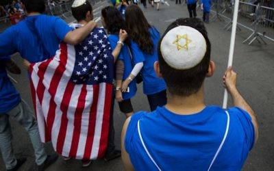 A participant marches in the Celebrate Israel Day parade in N.Y.C. Getty Images