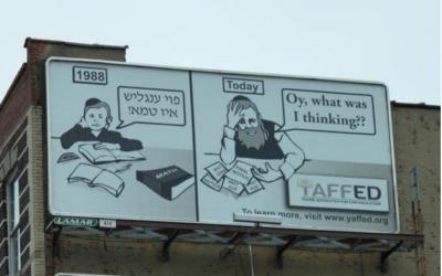 A billboard Yaffed put up in Williamsburg in 2016. Courtesy of Yaffed
