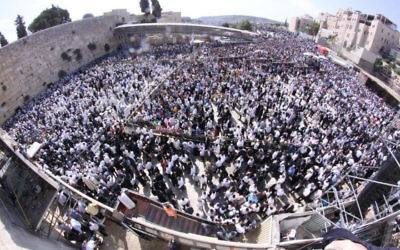 Tens of thousands gathering at the Western Wall to receive the priestly blessing on the Sukkot holiday, Sept. 30, 2015. JTA
