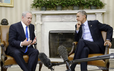 Barack Obama, U.S. President at the time meeting with Israeli Prime Minister Benjamin Netanyahu in the Oval Office of the White House to discuss the Iran Deal in 2015. JTA