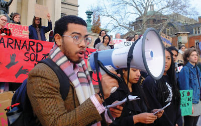 Columbia students protesting on the library steps against racial injustice and other issues. Michael Datikash/JW