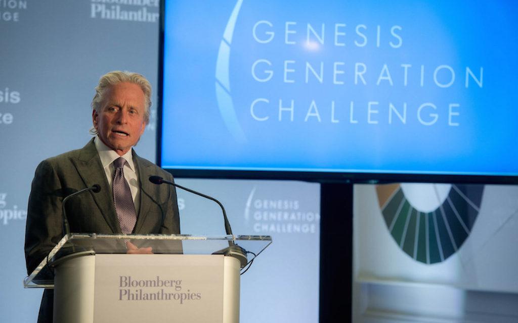 Michael Douglas speaking at the announcement of the Genesis Generation Challenge winners. JTA